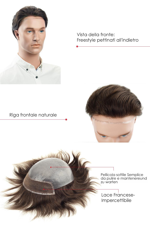Lace Francese impercettibile 100% Protesi capelli veri da uomo 59de9f9e2a22