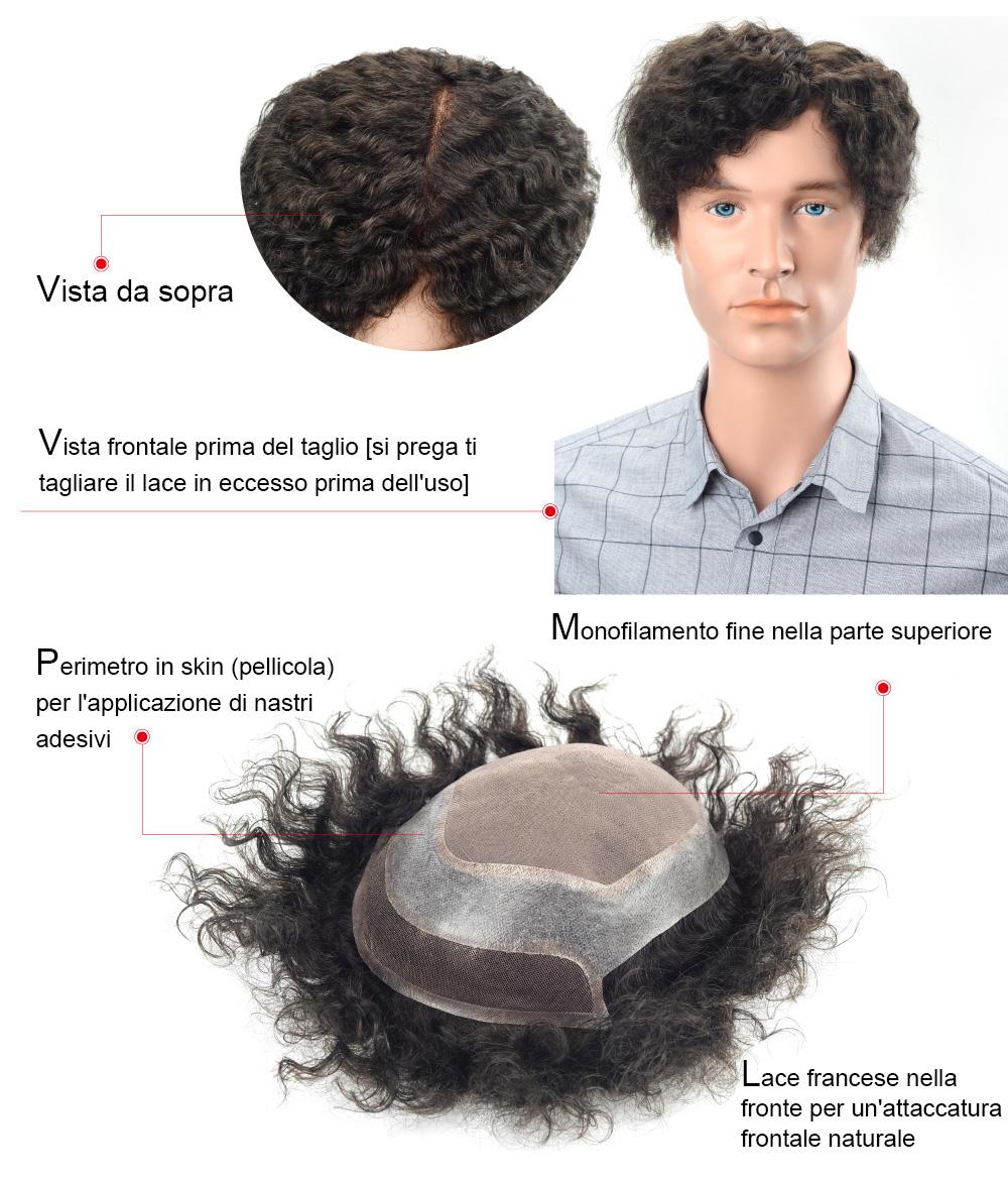S28 Sistema di capelli in mono, PU e lace front