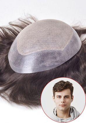 Inception-LC | Personalizzato parrucchino da uomo in pelle sottile iniettato attaccato con lace francese e lace a diamante