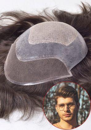 Inception-FLC | Personalizzato toupee per uomo in pelle sottile iniettato attaccato con lace francese e lace a diamante